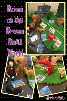 Our Room on the Broom Small World for retelling the story. Halloween Activities, Halloween Themes, Activities For Kids, Julia Donaldson Books, Preschool Library, Room On The Broom, Tuff Spot, Tuff Tray, Author Studies