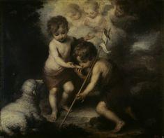 B.E.Murillo, Jesus- und Johannesknabe - Bartolomé Esteban Perez Murill as art print or hand painted oil.