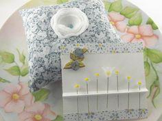 Pincushion Gift Set Blue Floral