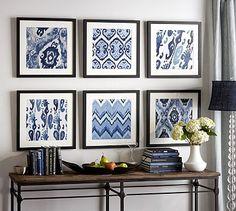 Framed Ikat Prints #potterybarn.  Me gusta la combinación de colores, azul beige/gris, café obscuro, blanco