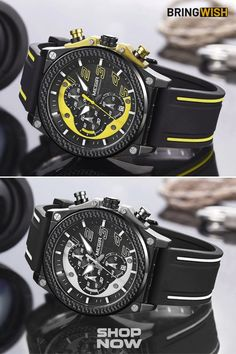 This sporty cool watch mechanism is powered by a precise quartz chronograph movement, supporting: date, hour, minute, second functions.