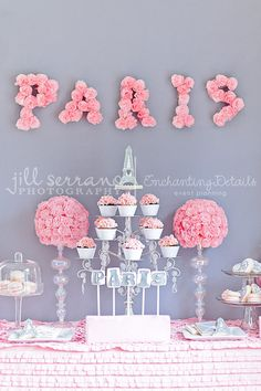 Pink Parisbut Silver Diy Birthday Table Decorations Party Themes