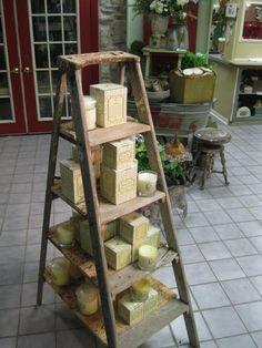 Ladder into display - barnwood shelves