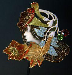 Lalique 'Profile' Brooch: plique-à-jour enamel/ gold/ peridot/ hessanite