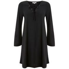 Glamorous Lace Up Smock Dress (174.720 IDR) ❤ liked on Polyvore featuring dresses, laced up dress, glamorous dresses, lace up front dress, smocked dresses and smock dress