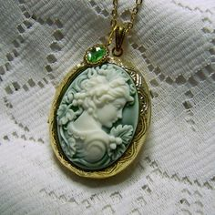 Greek Goddess Cameo Locket Necklace -  Goddess of Wine - Grape Harvest - Amphictyonis - Misty Green - Goddess Demeter Gold Locket by SouthernBelleOOAK on Etsy