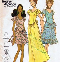 70s BETSEY JOHNSON DRESS Vintage Sewing Patterns B31 Size 6 EVENING 1970s Maxi