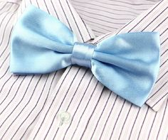 Solid Color Polyester Microfiber Pre-tie Bow Ties Light Blue