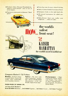 1952 Kaiser Manhattan Four Door Sedan #graphicdesign #vintage #ads