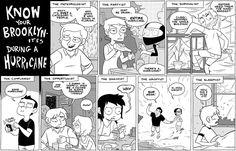 Brooklynites during a hurricane (comic by Meredith Gran)