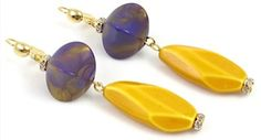 Vintage Purple and Gold Peacock Earrings by TashaHussey on Etsy, $45.00