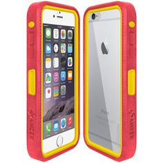 Amzer® CRUSTA™ Rugged Case Pale Red on Yellow Shell Tempered Glass with Holster for iPhone 6 Plus