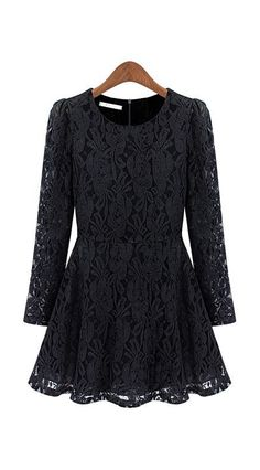 Long Sleeve Floral Lace Pleated Dress