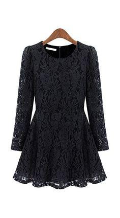 Black Long Sleeve Floral Lace