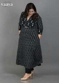 Black & Grey Mercerized Double-Weave Ikat Kurta with Handmade Tassels Kurta Designs Women, Salwar Designs, Blouse Designs, Ikkat Dresses, Kurta Patterns, Kurta Style, Kurta Neck Design, Mode Hijab, Indian Attire