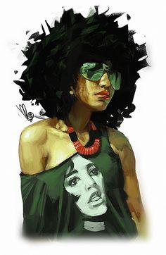 Artist: Mel Milton {figurative #character illustrator beautiful female #naturalhair african-american black woman portrait photoshop digital painting #loveart #Melmade #dookin} <3