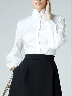 Shop Blouses - White Elegant Solid Stand Collar Cotton Blouse online.  Discover unique designers fashion