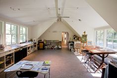 My Dream Studio....lots of windows and storage space.             Artist's Cottage - modern - home office - Ellen Happ Architect
