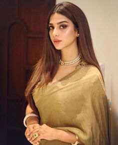 Gorgeous Sonya Hussyn in Royal Gold Saree with Pearl Necklace Saree Gown, Satin Saree, Sari Dress, Lehenga, Sabyasachi, Saree Blouse, Half Saree Designs, Blouse Designs, Saree Poses