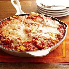 Quick Skillet Lasagna Talk about quick! Just cook the pasta, then prepare this family friendly lasagna in a skillet.
