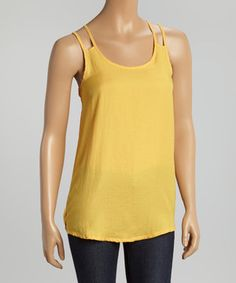 This Yellow Scoop Neck Tank by MSKollection is perfect! #zulilyfinds