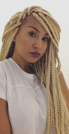 love this size too . Crown Hairstyles, Vintage Hairstyles, Braided Hairstyles, Big Box Braids, Blonde Box Braids, How To Grow Natural Hair, Natural Hair Styles, Dreads, Colored Braids