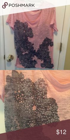 Lane Bryant studded, lace print burnout tee Pink burnout tee with lace print and tiny stud embellishments.    Sheer so requires tank underneath.  Great gently used condition.  14/16 Lane Bryant Tops Tees - Short Sleeve