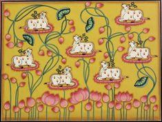 Cow Painting, Mural Painting, Fabric Painting, Phad Painting, Pichwai Paintings, Indian Paintings, Om Namah Shivaya, Krishna Art, Krishna Lila