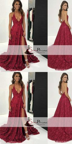 V-neck Red Lace Side Slit Lace Prom Dresses, Backless Halter Prom Dresses, Prom Dresses, PD0468