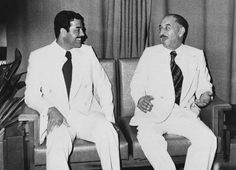 Former allies: Iraqi President Ahmed Hassan al-Bakr (right) and Saddam Hussein sit together in Baghdad in November 1978.
