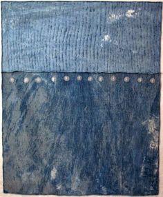 "Judith Martin New work: Lake 2014 - 168 cm h x 133 cm w   (66"" h x 52"" w) Materials: re-purposed linen damask, hemp silk blend fabric, indigo dye, cotton embroidery and quilting threads  (bamboo batt) Techniques:  paste resist, hand embroidery, hand quilting.   (Entirely hand stitched)"