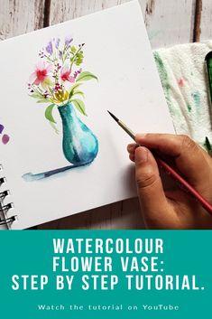 Watercolor Art Lessons, Watercolor Paintings For Beginners, Watercolor Journal, Pen And Watercolor, Painting Lessons, Floral Watercolor, Watercolor Flowers Tutorial, Watercolour Tutorials, Watercolor Beginner