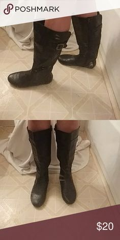 Blk Flat Boots Shiny & new looking Kalli Shoes Winter & Rain Boots