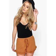 Boohoo Plus Plus Julieta Frill Hem Flippy Short ($20) ❤ liked on Polyvore featuring shorts, tan, micro short shorts, sequin hot pants, culottes shorts, short culottes and crop shorts