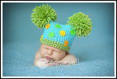 Crochet Polka Dot Double Pom Pom Jester Hat in Green and Aqua