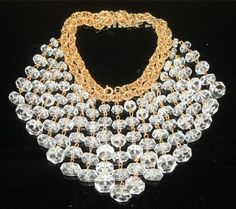 Vintage Stunning Art Deco Bib Necklace With Brilliant Faceted Crystals Dangles -- Probably more like 1960s but still nice.