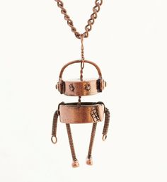 Chandler The Robot | Silver or Copper Pendant / Necklace