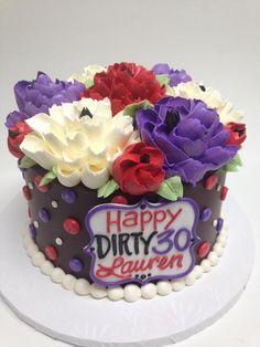 Dirty 30 cake -- white flower cake shoppe