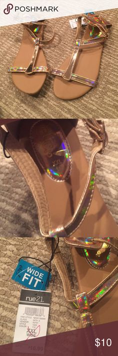 METALLIC ROSE GOLD SANDALS Ode gold strapp Sandals brand new with tags size XXL wide women's 11 super cute smoke free home fast shipping TAGS: follow boho cute comfy summer warm beach Rue 21 Shoes Sandals