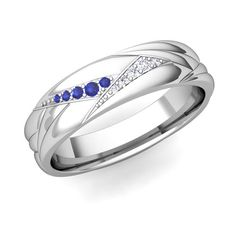 Unique Mens Ring with Sapphire and Diamond in 14k White Gold. #myloveweddingring, #ring, #mensrings