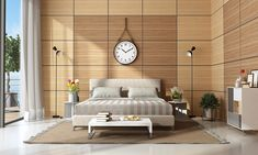 Softwood wall panel design for bedroom texture of this type is smooth, and it is also easy on the eyes. Wooden Wall Design, Wall Panel Design, Wooden Wall Panels, Wood Panel Walls, Wooden Walls, Wood Paneling Decor, Modern Master Bedroom, Double Bedroom, Oak Panels