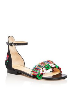 Isa Tapia Samuel Embellished Ankle Strap Flats