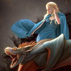 ArtStation - Daenerys and Drogon, Ynorka Chiu https://www.artstation.com/artwork/daenerys-and-drogon-62b98d7c-75ac-4e43-a75a-5bcd6237c7a9