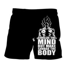 Dragon Ball Z Goku Super Saiyan Epic Black Fitness Boardshorts