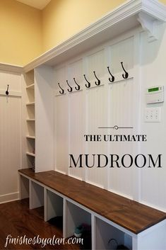Mudroom build-out with 12 inch shelf, 16 inch pine bench (stained to match floor) and combination board & batten with beadboard underlay- would do this in the laundry room and the front entrance Mudroom Laundry Room, Bench Mudroom, Mud Room Lockers, Mudroom Cubbies, Closet Shelves, Mud Room Bench Plans, Closet Mudroom, Utility Closet, Closet Drawers