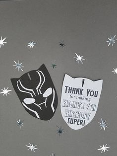 Say Thank you for coming to these Marvel Black Panther Thank You cards! Measures about 3.5 inches tall x 2.5 inches wide. Cards can be personalized - upon purchasing, I can leave the back blank so that you can hand write your note. Or I can type up a note and have it printed on the