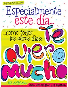 Lettering con mensaje de te quiero mucho © ZEA www.tarjetaszea.com