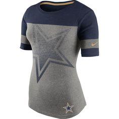 Women's Dallas Cowboys Nike Gray Champ Drive Fan T-Shirt