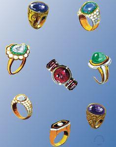 Designentwurf von Franz Hemmerle für Ringe mit Amethysten, Diamanten, Smaragden, Rubinen und Saphiren