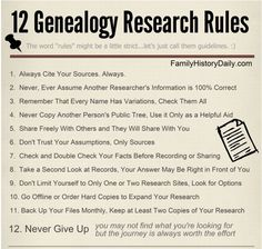 12 Genealogy Research Rules - Family History Daily - DIY @ Craft's Free Genealogy Sites, Genealogy Forms, Genealogy Search, Family Genealogy, Genealogy Chart, Ancestry Websites, Genealogy Humor, My Family History, All Family